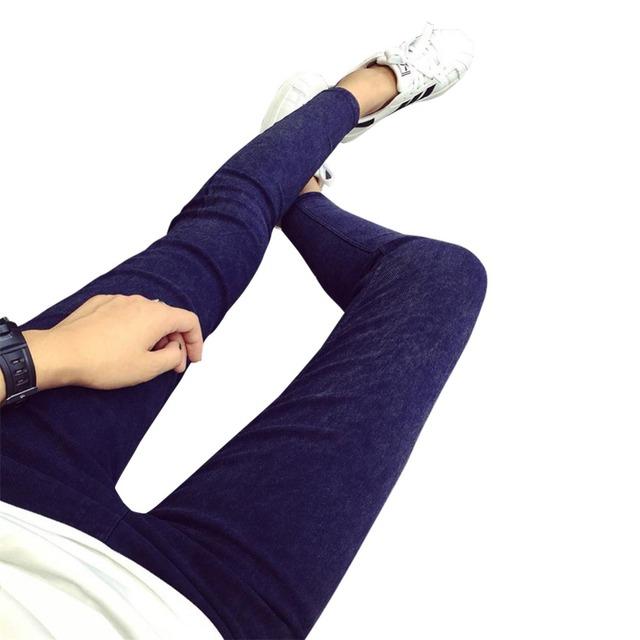 2016 de Las Mujeres Jeans Leggings Flaco Delgado de Alta Elástico Cintura Washed Jeans Jeggings Pantalones Lápiz Denim Leggings Para Las Mujeres
