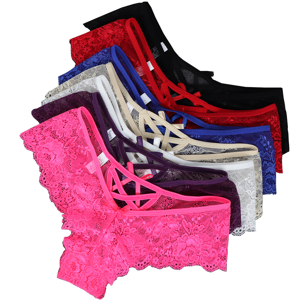 1Pcs Sexy Panties Lingerie For Women Low Waist G-String Thong Briefs Ladies Elastic Bandage Hollow Lace Flower Thong Underwear