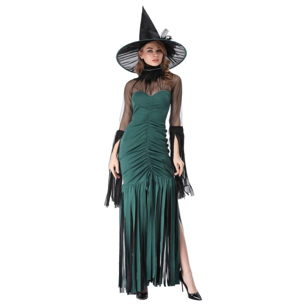 Adult Women Girls Witch Dress Costume Halloween Green Witch Dress Sexy Costumes For Women Halloween Christmas Costume Long Dress