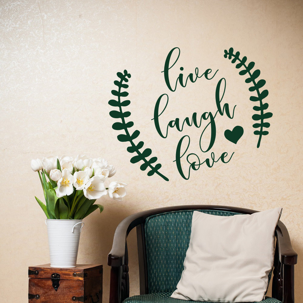Beautiful quote wall decal live laugh love heart shaped - Beautiful wall stickers for living room ...