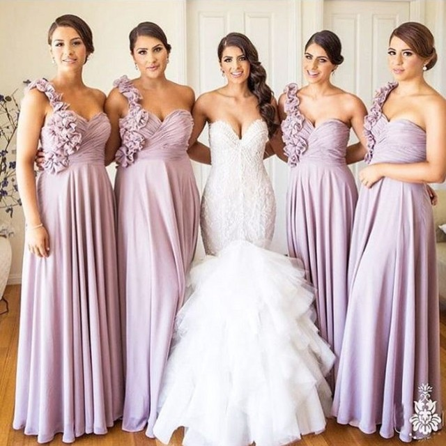 2016 New Y One Shoulder Lavender Flowers Chiffon Long Bridesmaid Dresses Wedding Party Dress Vestido De