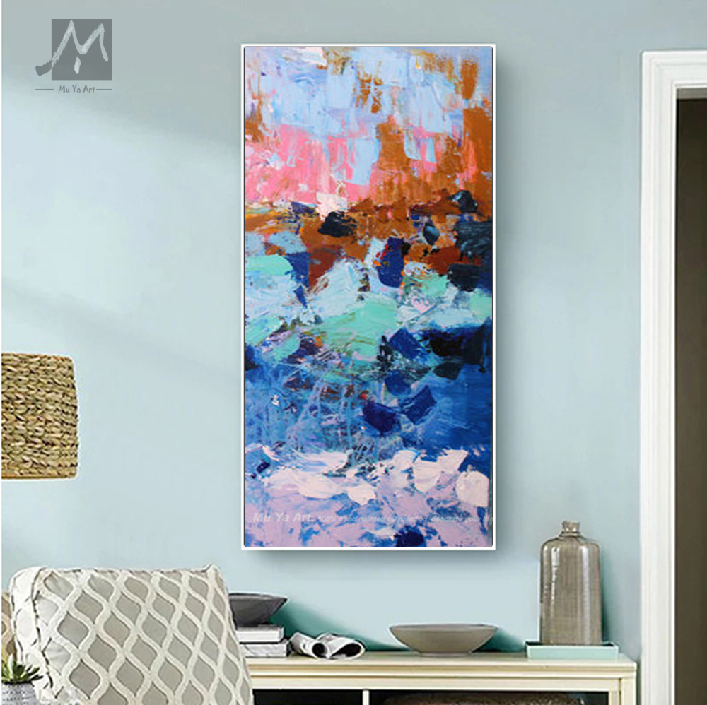 Large Fine art abstract painting White Blue Gray Painting abstract Painting Canvas Art Modern Acrylic Painting 24x48in Wall Art