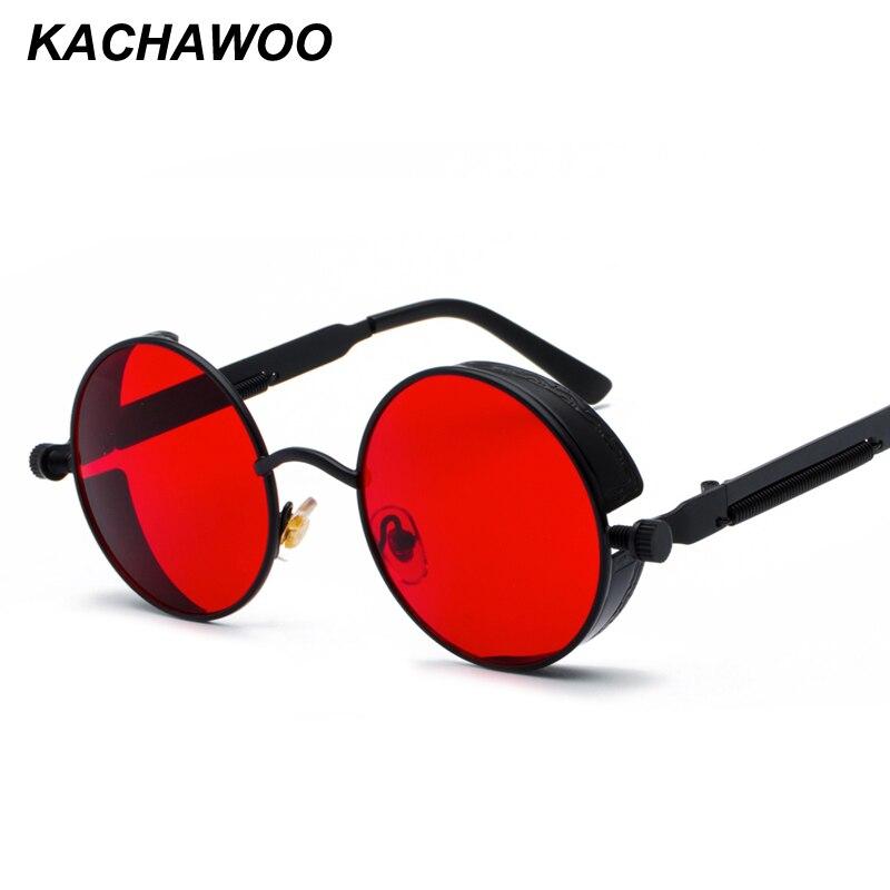 Kachawoo retro steampunk round sunglasses for men gift women red lens metal frame round sun glasses steampunk accessories