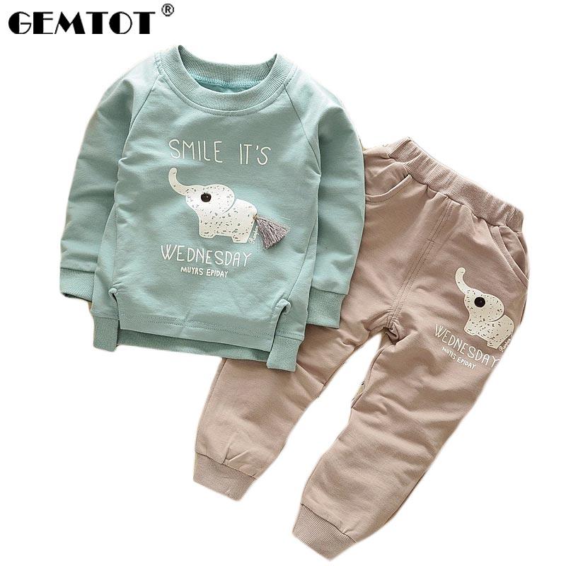 11fcd39af861d GEMTOT طفل الفتيان مجموعات 2017 جديد الخريف الخريف الطفل الأطفال الأولاد  الفتيات الكرتون الفيل القطن الملابس مجموعات T-قميص + السراويل دعوى