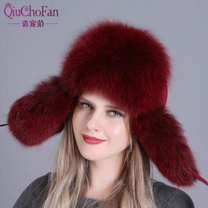 Image 5 - Futro kapelusz dla kobiet naturalne futro szopa rosyjska uszanka czapki zimowe grube ciepłe uszy moda Bomber Cap czarny New Arrival