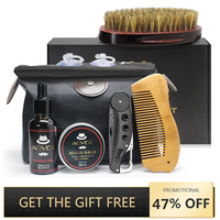 ALIVER 7 шт./компл. Для мужчин борода комплект инструмент для укладки волос бороды Bib фартуки бальзам масло для бороды гребень увлажняющий воск ...