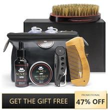 Men beard kit ferramenta de estilo barba bib aventais bálsamo barba pente óleo hidratante cera estilo tesoura conjunto cuidados com a barba