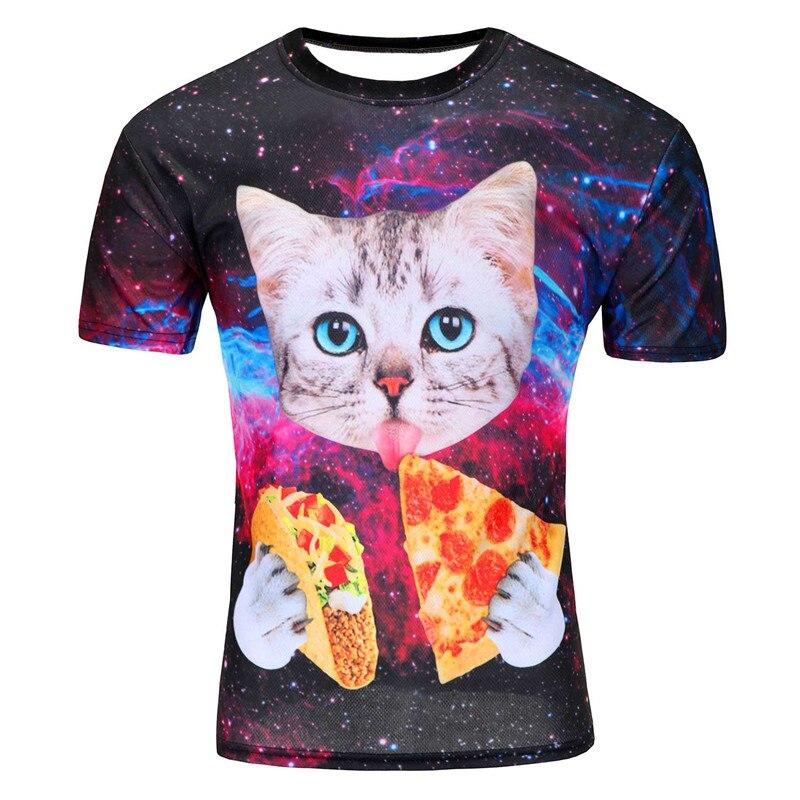 Брендовая одежда футболка Семья хип-хоп Футболка Для мужчин 3D принт милый кот голубой Средства ухода для век съесть Dart пиццы в пространстве ...
