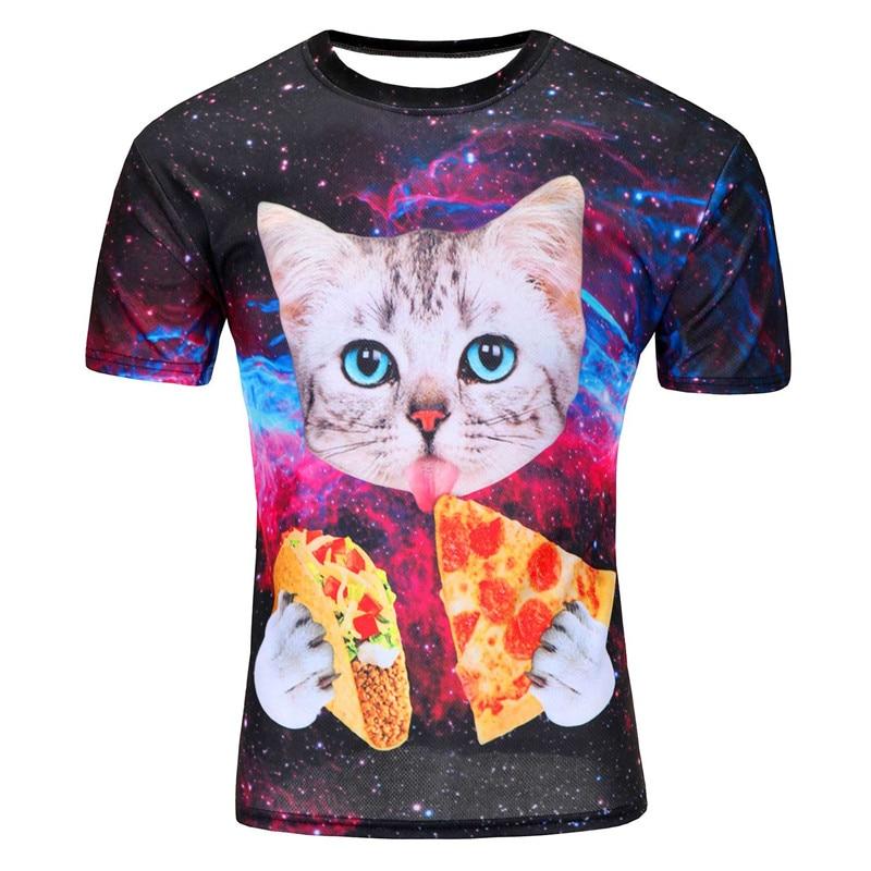 Brand Clothing T-Shirt Family Hip-Hop T-Shirt Men 3D Print Cute Cat Blue Eyes Eat Dart Pizza In Space Galaxy