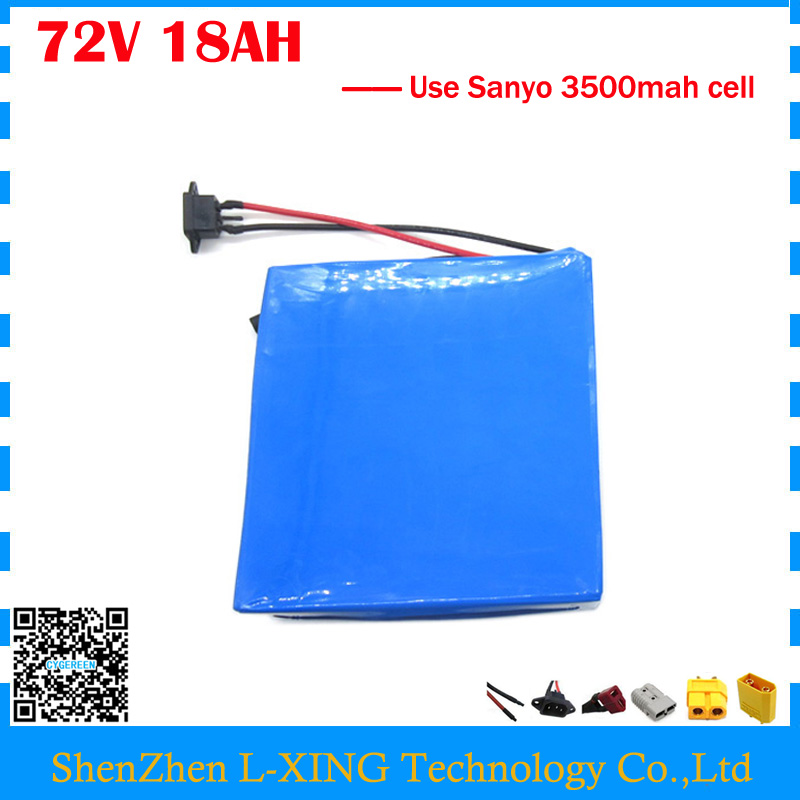 2500W 72V 18AH scooter battery 72V 17.5AH Lithium battery 72V Battery pack use Sanyo 3500mah cell 40A BMS Free customs tax