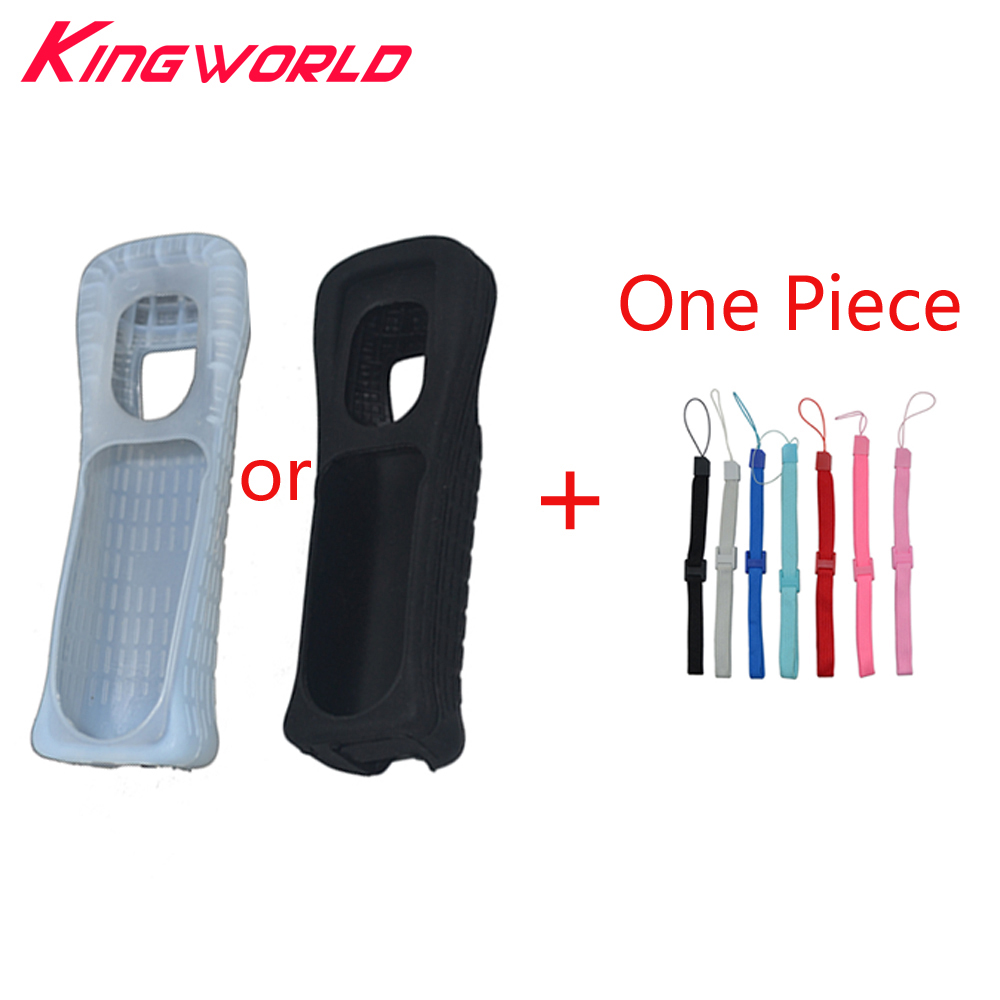 Silicone Rubber Case With Hand Strap For Wii Remote Controller Soft Silicone Skin Shell