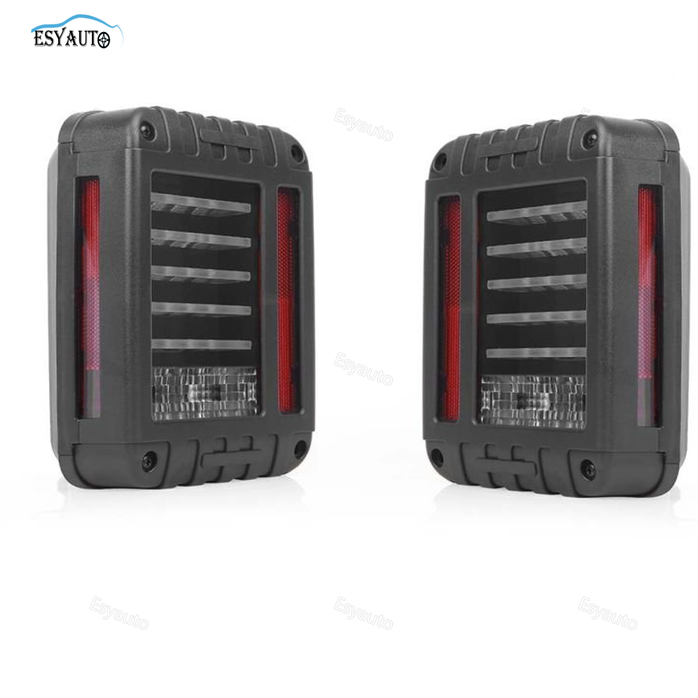 LED Tail Lights Brake Reverse Turn Singnal Lamp Back Up Rear Parking Stop Light DRL for Jeep Wrangler SUV car accessories 2 Pcs 1pair led side maker lights for jeeep wrangler amber front fender flares parking turn lamp bulb indicator lens