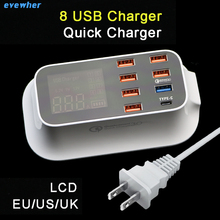 Quick charger 3.0 8 Ports Multi Charger Type-C  EU US UK Adapter 150CM Charging Cable LCD Indicator USB