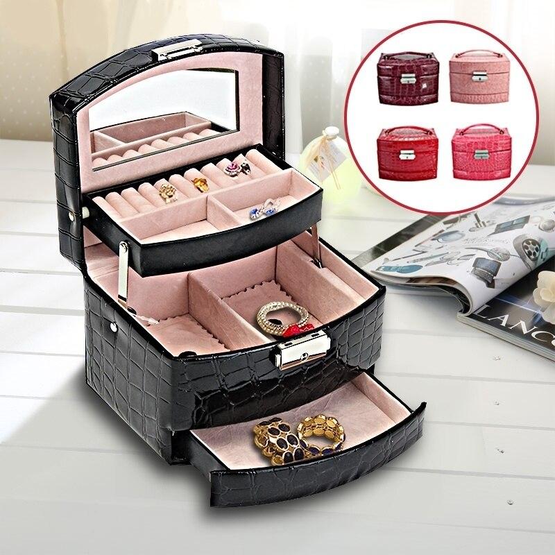 3 couches en cuir bijoux montre Bracelet présentoir boîte de rangement organisateur anneau collier miroir