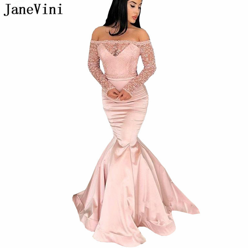 JaneVini Sexy Long Sleeves Mermaid   Prom     Dresses   Off Shoulder Lace Pearls See Through Satin Floor Length Party Gowns Vestido Gala
