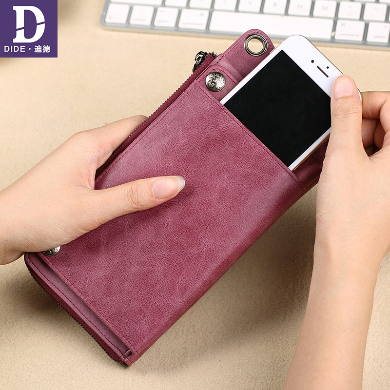 DIDE Multifunction Genuine Leather Wallets Women Brand High Quality Wallet Female Vintage Dollar Price Long Purse Card Holder enopella women wallet brand long wallet women dollar price leather purse high quality wallets brands purse female bag