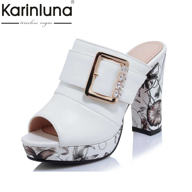 KarinLuna Big Size 32-42 Fashion Women Bohemia Flower Print High Heel Summer Shoes women Party Wedding Open Toe Platform Sandals bonjomarisa 2017 fashion summer sandles big size 32 43 cutout open toe thick heel less platform women shoes ladies footwear