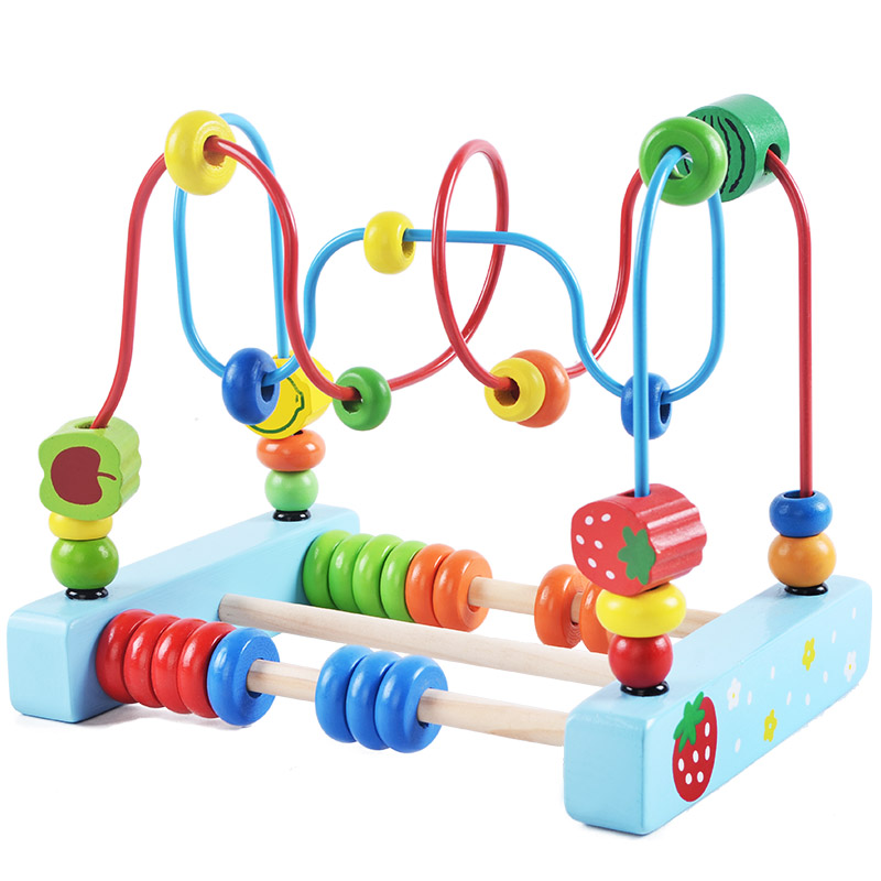 Baby Early Educational Wooden Toy Cartoon Animal Fruits Vegetables Bead Wire Maze Puzzle Game Toys For Children Birthday Gifts baby kids colorful wooden beads labyrinth maze game children toy wooden toy mini around beads wire maze educational game wj 094