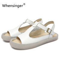 Whensinger 2018 New Women Sandals Genuine Leather Shoes Fashion Design Soft Sole 221 1