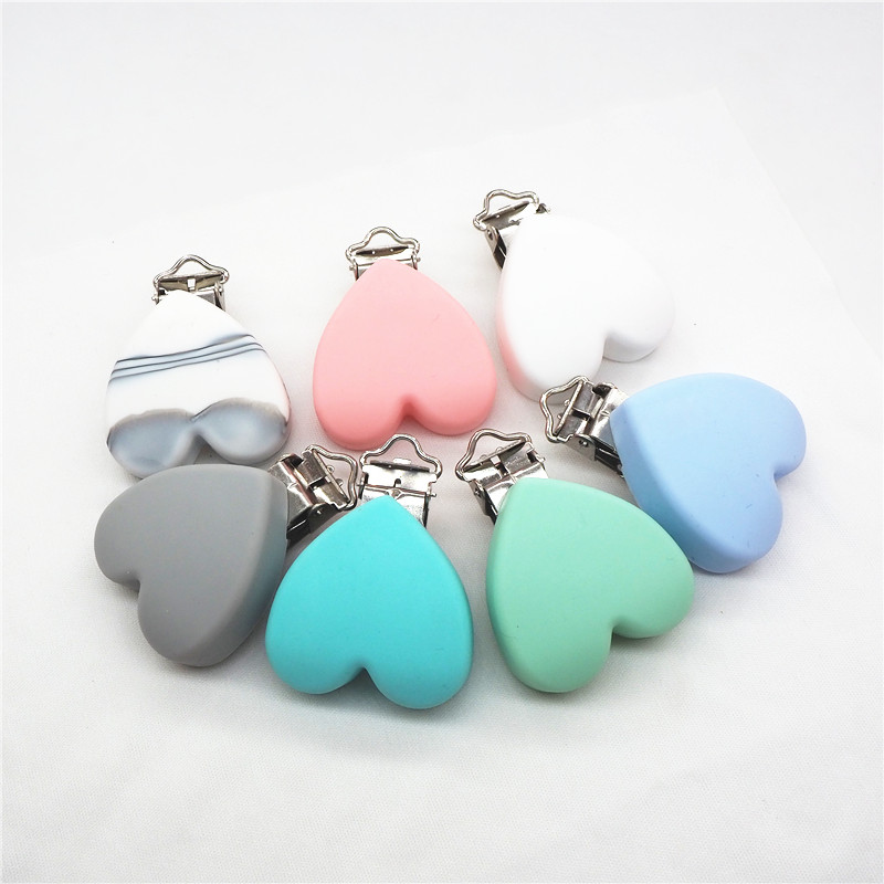 Heart Silicone Dummy Pacifier Clip Chain Baby Soother Holder Sensory Teether Toy