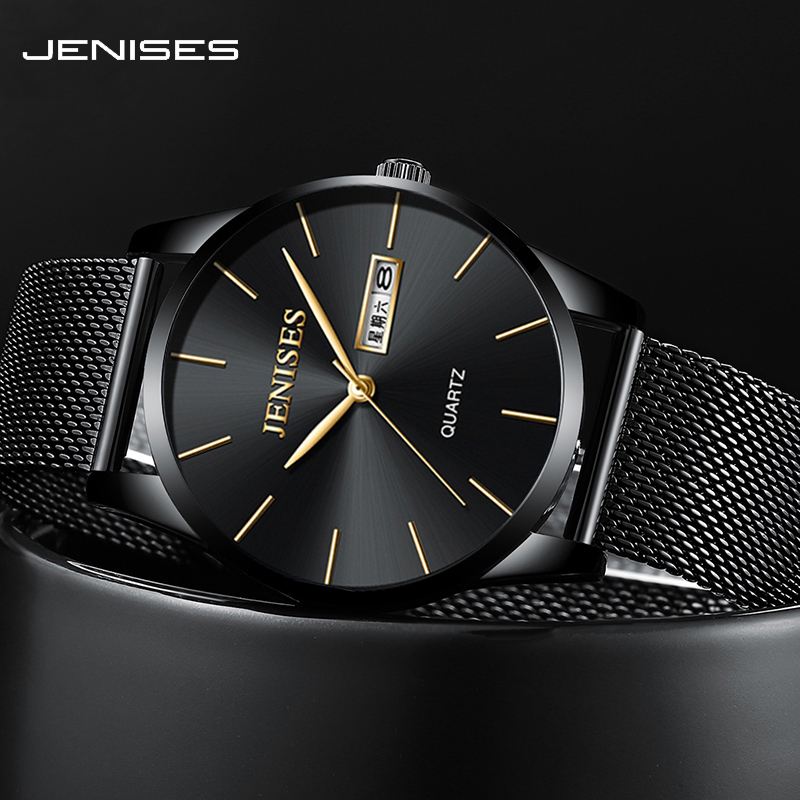 JENISES 7.5mm Ultra thin Dial Men's Watch Black Quartz Clock Wristwatches for Men Stainless steel & leather Strap Styles Watches|Quartz Watches| |  - title=