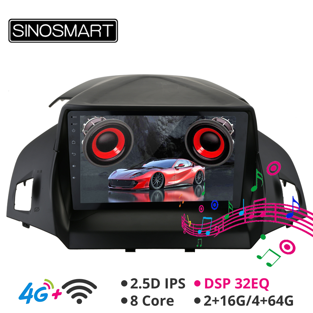 Sinosmart Android 8.1 Car <font><b>GPS</b></font> Navigation Radio for <font><b>Ford</b></font> Kuga 2013 2014 2015 Escape <font><b>C</b></font>-<font><b>Max</b></font> 2012-2018 2din 2.5D IPS/QLED Screen image