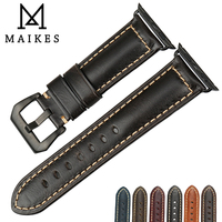 MAIKES Quality Watch Accessories Black Classic Genuine Leather Watch Strap Belt For Apple Watch Band 42mm