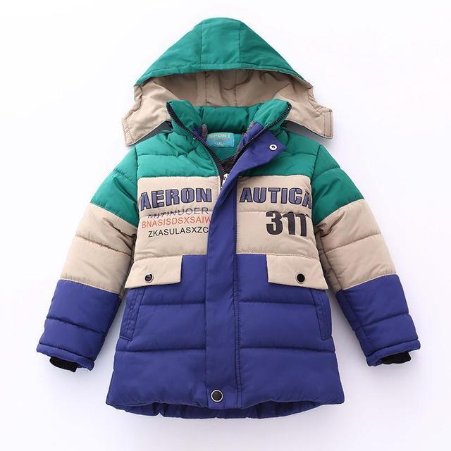 2017 chicos childen Parka chaquetas de invierno para Niños chaquetas Abrigos Niños calientes del bebé de algodón gruesa abajo chaqueta de invierno frío