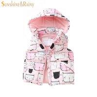 New Design Kids Boys Girls Vest Winter Coat Cartoon Cat Printing Cotton Children's Hooded Vest Baby Waistcoat Outerwear Coat