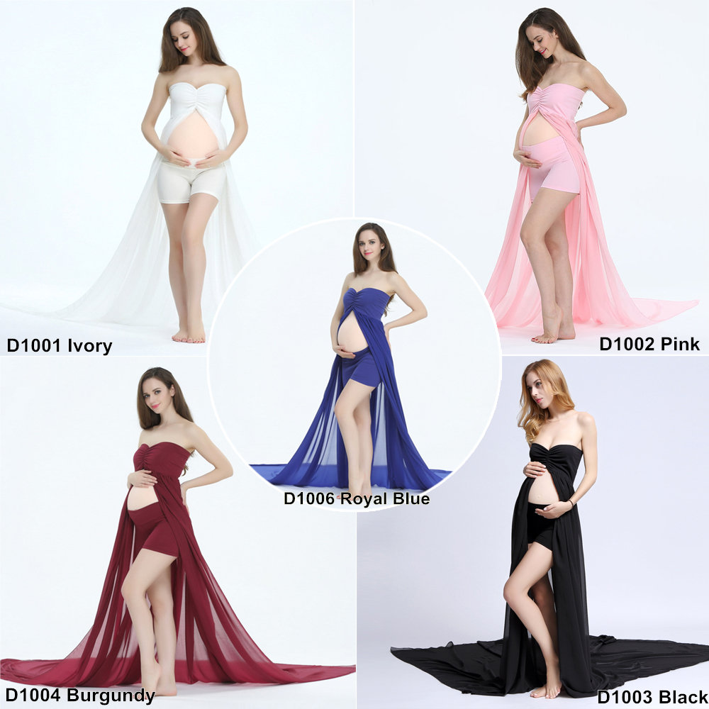 5d13bd6d1d4bb Maternity Dresses for Photo Shoot Long Train Maternity Gown Split Front  Chiffon Women Maternity Photography dress with Shorts-in Dresses from  Mother & Kids ...
