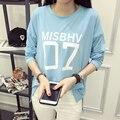 2016 Nueva Otoño Mujeres Camiseta Ocasional Impresión de la Letra Suelta de Tocar Fondo Superior O-cuello de La Manga Completa T-shirt de la Mujer Arropa El Envío Libre