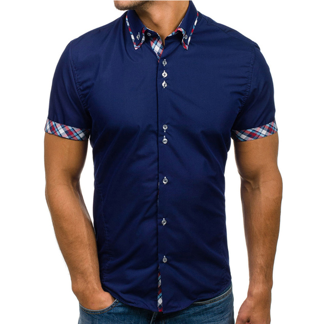 e0309b2c93a 2018 chemise hawaïenne Marques Homme Chemise Manches Courtes Tops Simple  solide Couleur Double Col Hommes Chemises