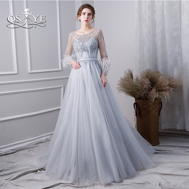 82c364d788 QSYYE 2019 New Silver Long Prom Dresses Sparking Beadings Top Long Sleeves  Floor Length Tulle Formal Evening Dress Party Gown