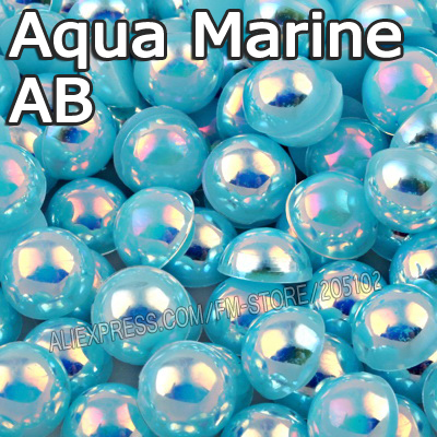 US $2 38 37% OFF|Aqua Marine AB Lake Blue Half Round bead Mix Sizes 2mm 3mm  4mm 5mm 6mm 8mm 12mm imitation ABS Flat back Pearl DIY Nail Accessory-in