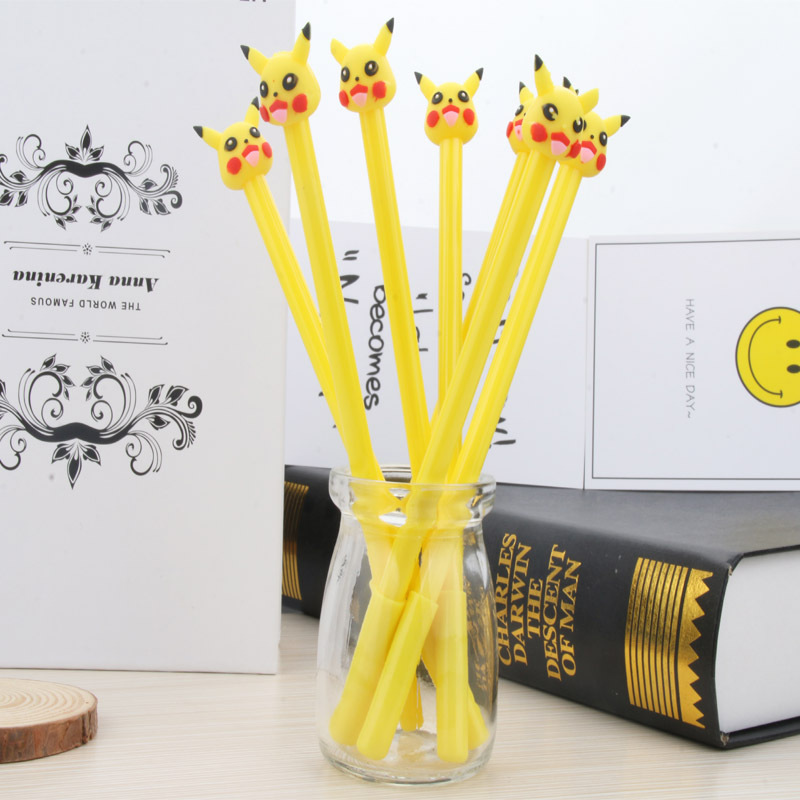 48pcs/lot Cute Pocket Monster Pikachu Pen 0.5mm Black Ink Gel Pen DIY Gift Pen Office School Supplies Stationery Wholesale