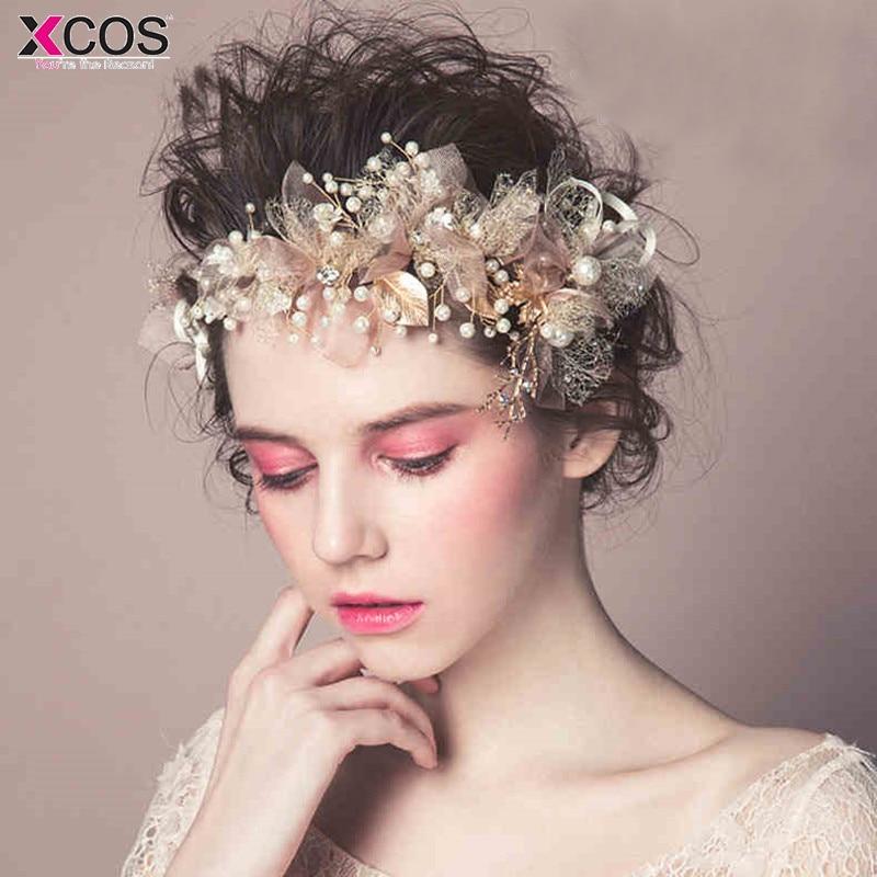 Princesse fille coiffure casque charmant feuille d'érable bandeaux perles cheveux vigne bijoux de mariée fête robe de bal accessoire de cheveux