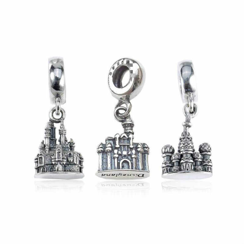 925 Sterling Silver DIY Beads Accessories Fairytale Architecture Majestic Castle Pendant Fits Pandora Charm Bracelets & Necklace