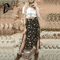 Daylook 2016 Summer Skirt Bohemia High Waist Tribal Print Wrap Front Split Maxi Skirt Elegant Vintage Long Skirt Plus Size Saia