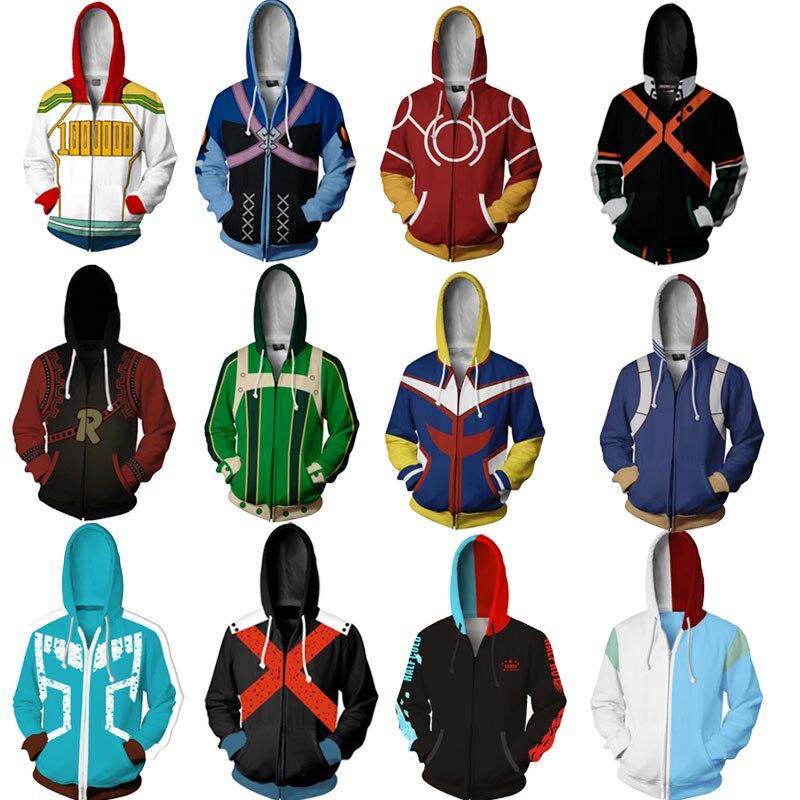 My Hero Academia Hoodie Izuku Midoriya Shouto Todoroki Boku No Hero Academia Cosplay Costume Sweatshirt All Might Zipper Jacket