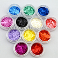 12 PCS Acrylic Round Nail Art Glitter Sequins Set For Nail Tips Decoration Tool 12 colors