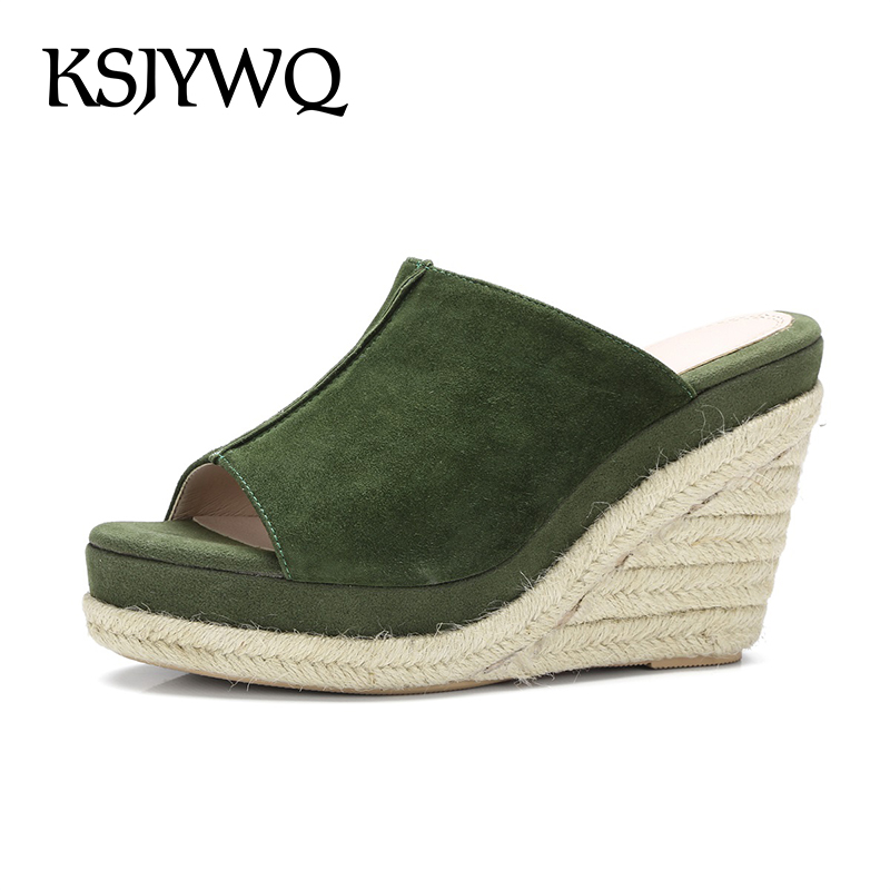 KSJYWQ Sexy Peep-toe Women Mules 9.5 cm Platform Wedges Genuine leather Summer Slippers Open-toe Shoes Woman Box Packing Q3008 lanshulan bling glitters slippers 2017 summer flip flops platform shoes woman creepers slip on flats casual wedges gold