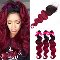 Hot sale Body wave hair Bundles with Closure virgin Brazilian hair 3bundles with Closure ombre color T1b/Burgundy In stock
