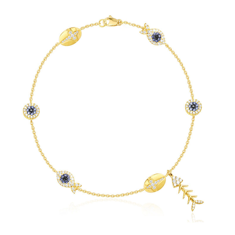 SLJEY Real 925 Sterling Silver Cubic Zirconia Yellow Gold Color Eye Fishbone Anklet Women Monaco Fashion