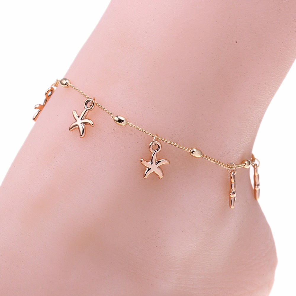 rose chain female stainless anklets bracelet leg gold plated women steel cross for anklet foot jewelry item color