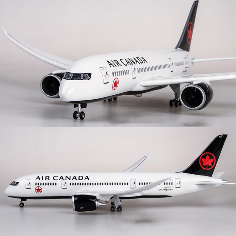 47CM 1/130 Scale Airplane Boeing B787 Dreamliner Aircraft Canada Airlines Model W Light & Wheel Diecast Plastic Resin Plane Toys