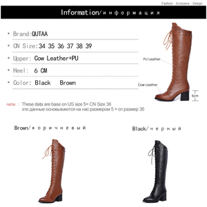 Image 5 - QUTAA 2020 Women Over The Knee High Boots Cow Leather Fashion Lace Up Pointed Toe All Match Women Motorcycle Boots Size  34 39
