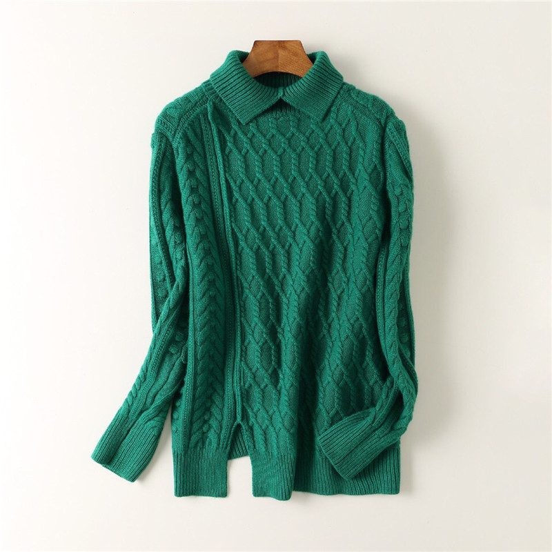 5e7a5f128a 100%cashmere thick twisted kint women high collar pullover sweater coat  wide loose open hem irregular length emerald color S M