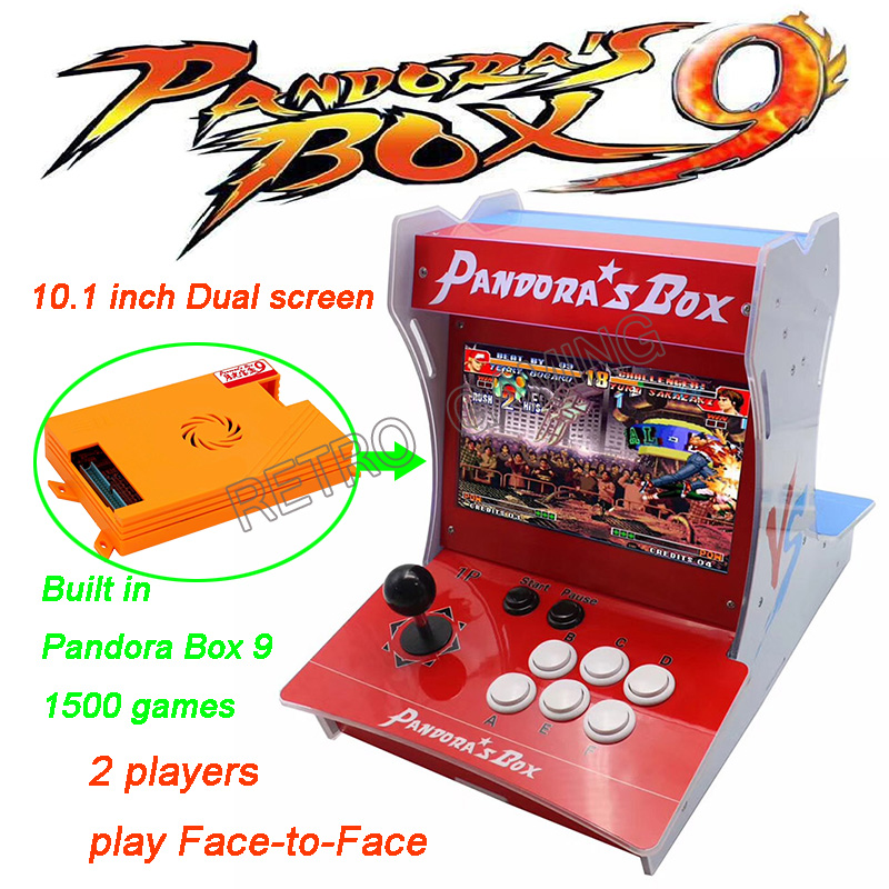 Children's Gift 2 Player Acrylic playstation mini arcade machine 10.1 inch Dual screen Built in Pandora Box 9 1500 games-in Coin Operated Games ...