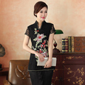 Top Quality Black Chinese Traditional Embroidery Blouse Women Sexy Lace Short Sleeve Shirt Flower Size S M L XL XXL XXXL WS057