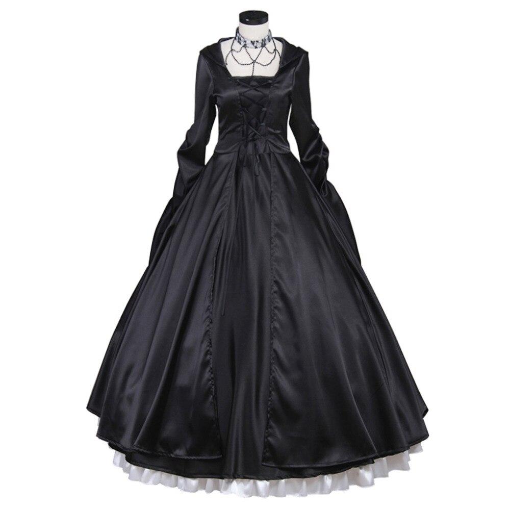 Robe médiévale noire princesse sud Belle Costume robe de bal gothique robe Lolita adulte femmes fête robe de soirée sur mesure